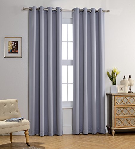 MYSKY HOME Solid Grommet top Thermal Insulated Window Blackout Curtains, 52 by 95 inch, Grey (1 panel) (One Panel Grey Curtains compare prices)