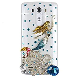 LG Escape 2 Bling Case - Fairy Art Luxury 3D Sparkle Series Mermaid Octopus Crystal Design Back Cover with Soft Wallet Purse Red Cloth Pouch - Blue