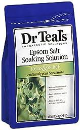 Dr. Teal\'s Epsom Salt Soaking Solution, Eucalyptus Spearmint, 48 Ounce (Pack of 4)