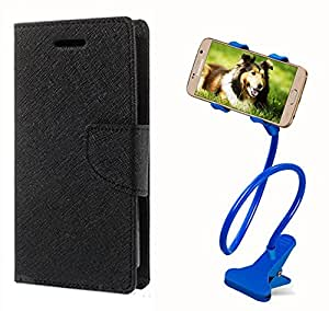 Aart Fancy Diary Card Wallet Flip Case Back Cover For Samsung E5 -(Black) + 360 Rotating Bed Tablet Moblie Phone Holder Universal Car Holder Stand Lazy Bed Desktop for by Aart store.