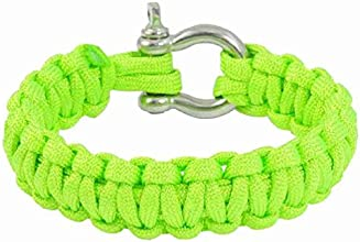 MagentooTM Outdoor Stainless Steel Shackle Bright Green Survival Bracelet