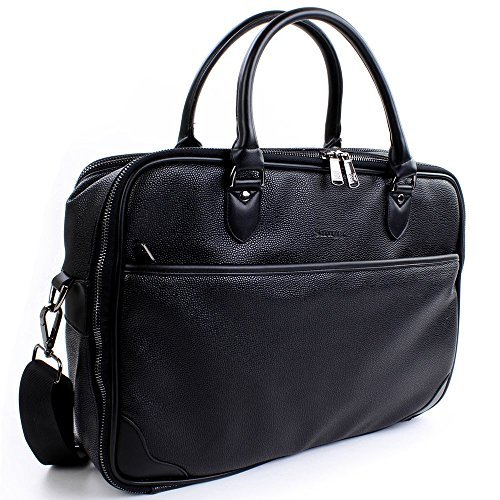 Laptop Briefcase in Black Leather from The Snugg™ - Holds Laptops, Macbooks and Tablets up to 15.6