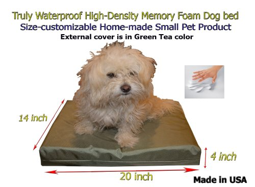 "Home-Made Truly Waterproof Customizable 20""X14""X4"" Memory Foam Premium Tea Oxford Cat Dog Bed"