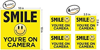 """SMILE YOU'RE ON CAMERA"" Security Signs ? Includes (1) 10""x10"" inch and (4) 3.5""x 2.8"" inch stickers ? Yellow CCTV Video Surveillance Sign ? Business Security System Decal Vinyl Adhesive Wall Sticker"