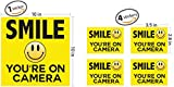 """Smile Your On Camera ● Security Signs ● Includes (1) 10""""x10"""" inch & (4) 3.5""""x 2.8"""" inch stickers ● Security Stickers ● Home Security ● Video Surveillance Signs ● Vandalism Robbery & Theft Prevention"""