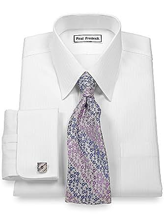 paul fredrick men 39 s non iron straight collar french cuff