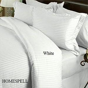 1200 TC QUEEN WHITE STRIPE Egyptian Cotton Sheet Set