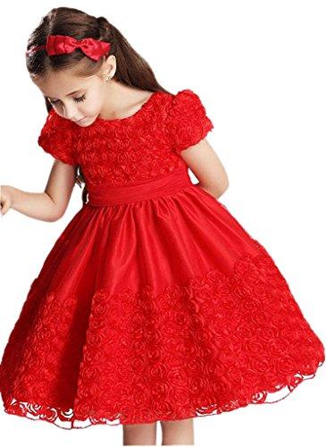 EOZY-Vestito Rosso Estivo di Cotone Misto Gonna Principessa con Fiore per Bambina Petto di 55cm