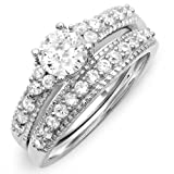 2.00 CT Sterling Silver Ladies White Round CZ Cubic Zirconia Engagement Bridal Ring Set (Available Size 6 ,7, 8)