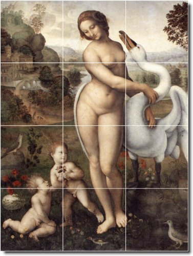Leonardo Da Vinci Nudes Kitchen Tile Mural 29. 18X24 Inches Using (12) 6X6 Ceramic Tiles. front-943359