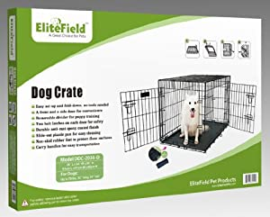 """EliteField Two Door Folding Dog Crate with RUBBER FEET, 5 Sizes, 10 Models Available, FREE Shipping (2-Door Crate with Divider, 36""""L x 24""""W x 26""""H) from EliteField"""