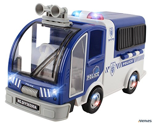 Memtes Police Car Toy Vehicle Rescue, Building Block with Police Man Action Figure, Lights And Sound, Bump and Go Action (Police Car Doors Open compare prices)