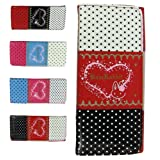 Pretty Polka Dots and Heart Print Wallet Purse. Available in Black, Blue, Pink or Redby Lady Isla Fashion