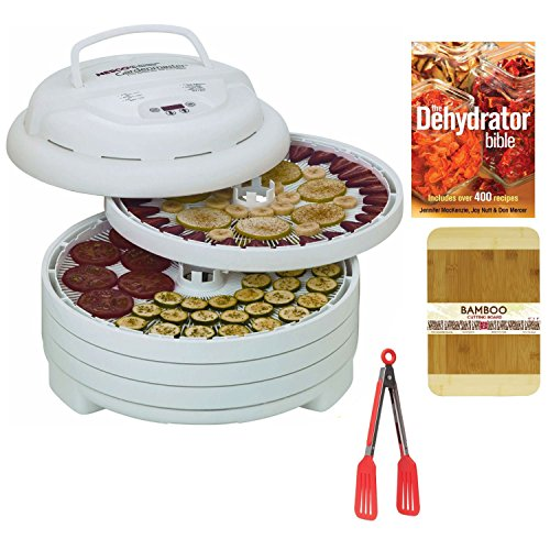 Nesco Fd-1040 1000-Watt Gardenmaster Food Dehydrator With Silicone Spatula + 8-Inch Nylon Flipper Tongs And The Dehydrator Bible