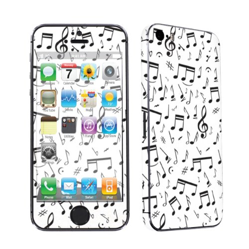 Apple iPhone 5S Full Body Vinyl Decal Protection Sticker Skin By SkinGuardz  Music Note White Picture