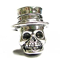 Queenberry Halloween Sterling Silver Hat Skull MR Skeleton Dead Bead For Pandora European Charm Bracelets from Queenberry