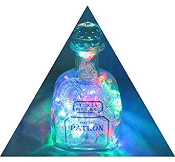 Upcycled Patron Bottle Lighted Bottle Art Lamp topped with Genuine