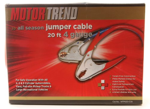 Motor Trend MTP420-CCA 20-Foot Jumper Cables with Parrot Clamps, 500-AMP