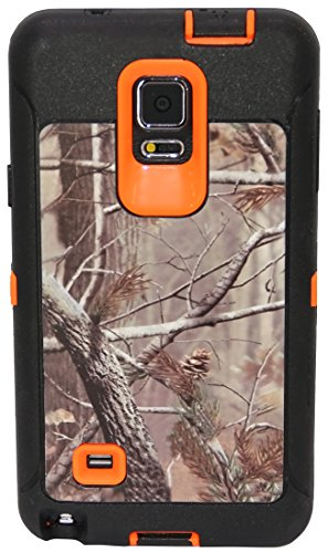 Note 4 Case - Galaxy Note 4 Case - Huaxia Datacom Natural Tree Camo Defender Military Grade Hybrid Case for Samsung Galaxy Note 4 - Orange Camo Tree