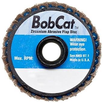 "Weiler BobCat 2"" Diameter, 40 Grit, Zirconium, Plastic Backing, Type 29 Specialty Abrasive Flap Mini Disc"