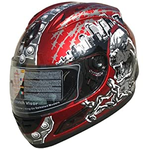Adult Full Face Street bike sports DOT Helmet Wine Red F34 Size Large by Yama