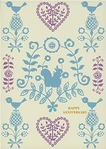 Jolie carte d'anniversaire avec oiseaux et écureuil
