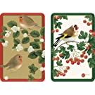 Entertaining with Caspari Double Deck of Bridge Playing Cards, Winter Birds, Set of 2