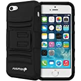 Fosmon® Apple iPhone 5 / 5S (STURDY Series) Heavy Duty KickStand Case Cover with Belt Clip Tough Shell Holster - Fosmon Retail Packaging (Black)