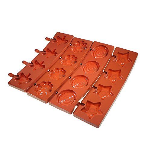 Ensemble de 16 moules à sucettes en silicone en forme de tourbillons, d'étoiles, de bonhommes de pain d'épice et de fleurs par Kurtzy TM.