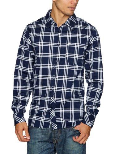 RIP CURL Check Stretch Long Sleeve Men's Shirt Dress Blue Small