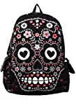 Sugar Skull Backpack Banned rucksack bag rock punk goth living dead Black Pink