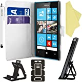 BAAS® Nokia Lumia 520 White PU Leather Folio Case Wallet Pouch Flip Cover with Card Holder , Screen Protector Film & Stylus Pen