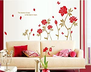 Bigmouth The Tremor of Awe is the Best in Mam Quote Red Flowers Butterflies Removable Wall Mural Decal by Bigmouth