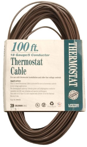 Coleman Cable 09635 100-Feet 18-Gauge 5-Conductor CL2 Bulk Thermostat Cable