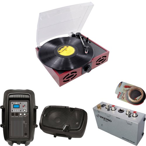 Pyle Turntable Record Player, Pre-Amplifier, Rca Cable And Speaker Package - Pvnt7U Retro Style Turntable With Usb-To-Pc - Pp444 Ultra Compact Phono Turntable Pre-Amplifier - Pphp885A 400 Watts 8'' Powered 2 Way Plastic Molded Speaker System - Plrc6 6Ft S