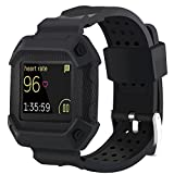 Moretek Blaze bands , Frame Rugged Protective Case with Strap Bands for Fitbit Blaze Smartwatch / Watch Sport Replacement Band (NewBlack)