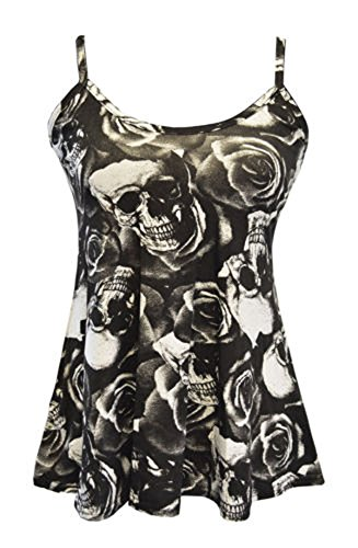 FashionMark Women's New Strappy Skull Rose Print Camisole Vest Top