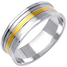 buy 18K Two Tone Gold Basket Weave Men'S Wedding Band (7Mm) Size-9