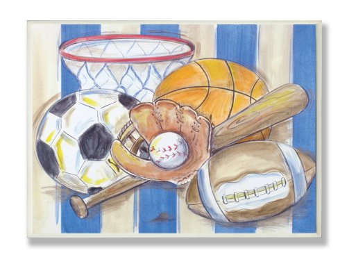 The Kids Room by Stupell Blue and White Striped Multi-Sport Rectangle Wall Plaque