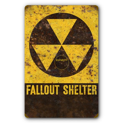 Nuclear Fallout Shelter Tin Metal Steel Sign, Reproduction of Old Rusted Vintage DOD Sign :: 11.5 x 17.5 inches [AYY026]