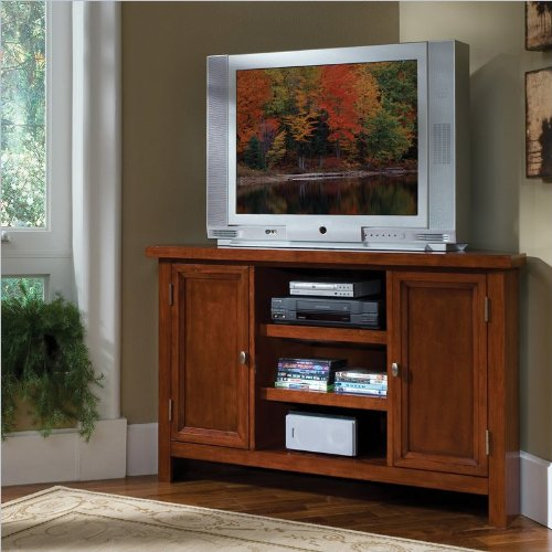 Home Styles Hanover Corner Entertainment TV Stand in Cherry