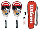 2 Wilson Tour Pro Junior Squash Rackets Set with Bag,Waterbottle & Balls RRP£135