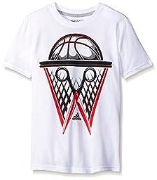 adidas Big Boys 30S Short Sleeve Tee March Mad, White/Black, Medium