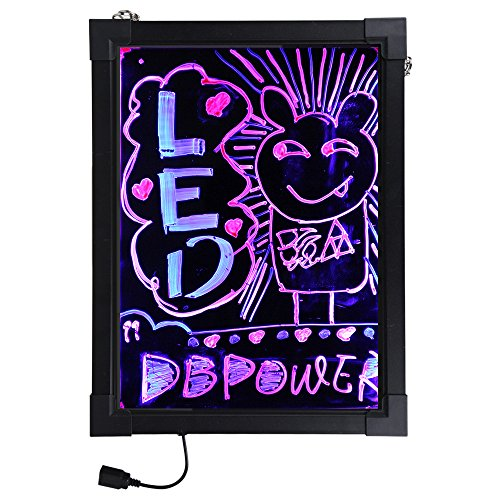 """Dbpower 12"""" X 16"""" 7 Colors Rgb Shining Flashing Illuminated Erasable Neon Led Writing Board Sign+ Remote Control+ Metal Chain For Hanging Up+ Washable Eraser Cloth+ Usb Controler+ Power Adaptor (Us Seller)"""