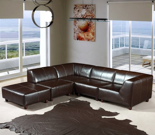 Domino Leather Sectional Sofa