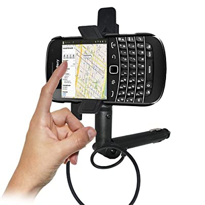 Amzer AMZ93463 Lighter Socket Phone Mount with Charging and Case System for BlackBerry Bold 9900, BlackBerry Bold 9930 - Retail Packaging - Black from Amzer