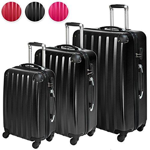 TecTake Policarbonato trolley valigia valigie set rigido borsa - disponibile in diversi colori - (Nero (No. 401445))
