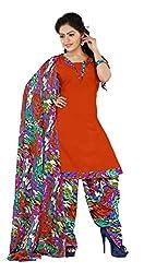 Khushali Presents Patiyala Dress Material(Orange,Multi)