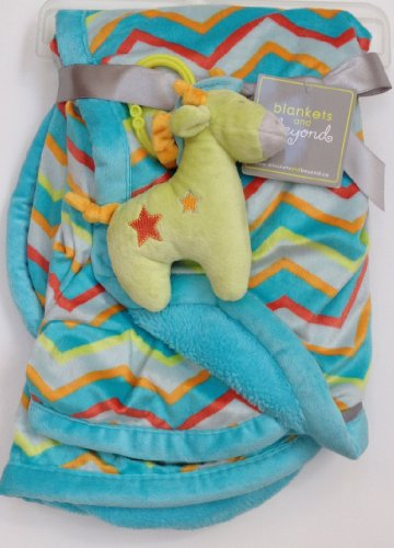 Blankets and Beyond Plush Colorful Blanket and Giraffe Toy Set - 1
