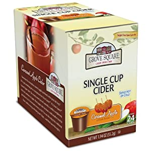 Grove Square Sugar Free Hot Cider Cups, Caramel Apple, Single Serve Cup for Keurig K-Cup Brewers, 24-Count